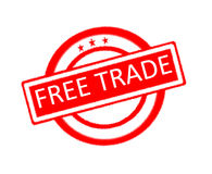 Free trade written on rubber stamp Stock Photo