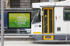 Free tram zone in Melbourne Stock Image