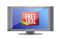 Free trial arrow label on screen Royalty Free Stock Photography