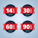 Free trial badges. 14, 30, 60 and 90-day stickers. Royalty Free Stock Photos