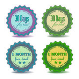 Free trial badges. Set of four badges with the text free trial written on each of them royalty free illustration