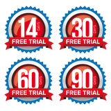 Free trial badges vector set Stock Photography