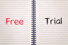 Free trial concept on notebook Stock Photos
