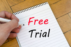 Free trial concept on notebook Stock Images