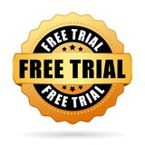 Free trial gold icon. Free trial golden badge icon on white background stock illustration