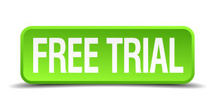 Free trial green square isolated button Stock Photos