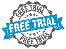 Free trial stamp. Free trial grunge stamp on white background royalty free illustration