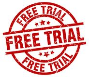 Free trial stamp. Free trial grunge stamp on white background Royalty Free Stock Image