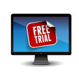 Free trial label on screen Stock Photography