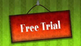 FREE TRIAL text on hanging orange board. Green striped wallpaper royalty free illustration