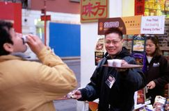Free trials of Ginseng Coffee, Chinatown, London Stock Image