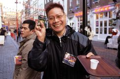 Free trials of Ginseng Coffee, Chinatown, London Stock Photos