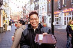 Free trials of Ginseng Coffee, Chinatown, London Stock Photography