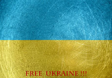 Free Ukraine on the flag of Ukraine Stock Photos