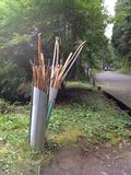 Free walking sticks. For going uphill Stock Images