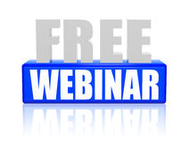 Free webinar in 3d letters and block Stock Photography