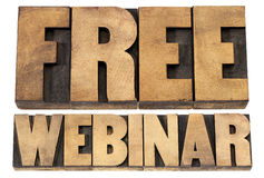 Free webinar in wood type Royalty Free Stock Images
