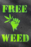Free Weed. A negative message in favor of the legalization of marijuana Stock Image