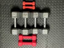 Free Weights. On a rubber workout mat Stock Photography