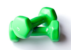 Free Weights with natural drop shadow. Free weight dumbbells isolated on pure white background stock photos