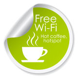 Free wi-fi. Label over white Stock Photography