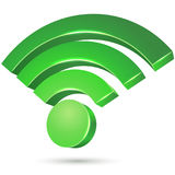 Free Wi-Fi access zone. Green icon isolated on white background. Vector illustration stock illustration