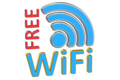 Free Wi-Fi concept, 3D rendering Royalty Free Stock Images