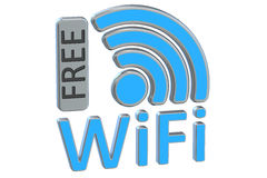 Free Wi-Fi concept, 3D rendering Royalty Free Stock Photos