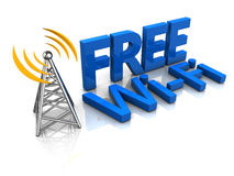Free wi-fi. 3d illustration of free wi-fi tower Stock Image