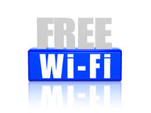 Free wi-fi in 3d letters and block Stock Photos