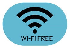 Free wi-fi point icon on blue background. Button Stock Image