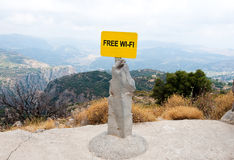 Free WI-FI sign. Crete, Greece. Stock Image