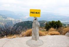 Free WI-FI sign. Crete, Greece. Stock Image