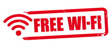 Free wi-fi spot, red rubber stamp Stock Photography