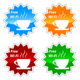 Free wi-fi vector labels. Set on a white background Royalty Free Stock Image