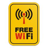Free wi-fi yellow sign Royalty Free Stock Images