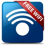 Free wifi blue square button red ribbon in corner. Free wifi isolated on blue square button with red ribbon in corner abstract illustration Stock Image