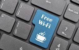 Free wifi. In coffee shop on black keyboard Stock Photography