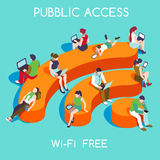 Free WiFi Concept Isometric. Wi-Fi Free Public Hotspot Zone Wireless Internet. Connection Interacting People Unique Isometric Realistic Poses. NEW bright palette Royalty Free Stock Photos