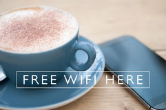 Free wifi connection in the cafe Royalty Free Stock Images