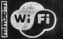 Free WiFi - drawing on blackboard Royalty Free Stock Photo