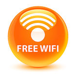 Free wifi glassy orange round button. Free wifi isolated on glassy orange round button abstract illustration Stock Photography
