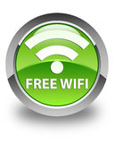 Free wifi glossy green round button Royalty Free Stock Photos