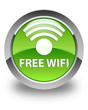 Free wifi glossy green round button Royalty Free Stock Photography