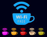 Free WiFi hotspot sign and symbols colorful logo with cup shape for cafe business   Royalty Free Stock Photos