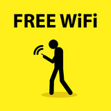 Free WiFi Icon. Illustration of a stick figure holding a smart phone with the text free wifi Royalty Free Stock Images