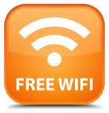 Free wifi special orange square button Royalty Free Stock Photography
