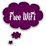 FREE WIFI on magenta thought cloud. Stock Image