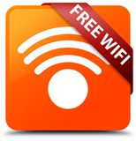 Free wifi orange square button red ribbon in corner. Free wifi isolated on orange square button with red ribbon in corner abstract illustration Royalty Free Stock Photography