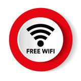 Free wifi red white modern web vector design and smartphone  Stock Image